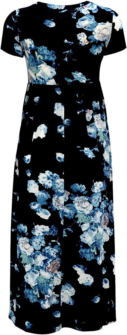 Girl's Short Sleeve Floral Print Loose Casual Long Maxi Dress