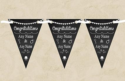Pizarra felicitaciones blanco negro aniversario - estandarte triguero personalizada decoración, Small: Amazon.es: Oficina y papelería
