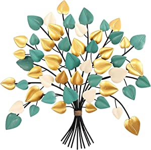 JWBB Metal Wall Art,Tree of Life Wall Decor,Colorful Heart-Shaped Leaves,Hanging Wall Sculpture Decoration,Creative Contemporary Artwork Ornament Durable Smooth for Living Room Bedroom 2021224
