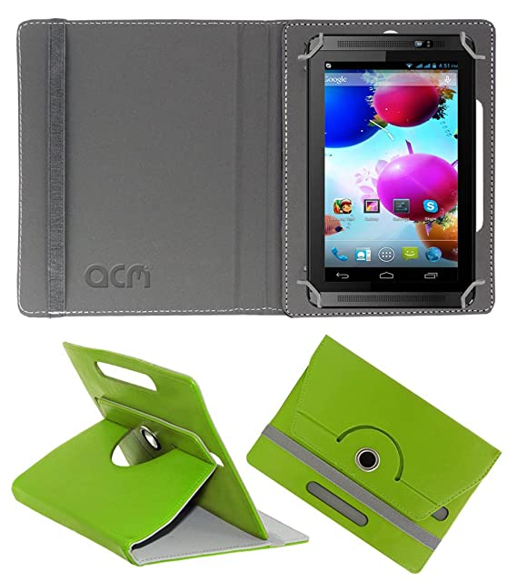 Acm Rotating 360 Leather Flip Case Compatible with Spice Halo Fone Cover Stand Green Tablet Accessories