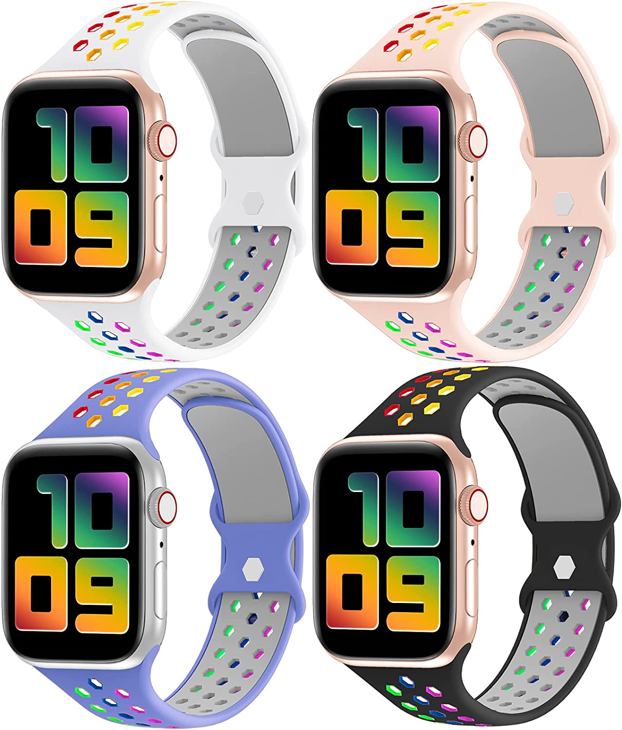 YAXIN 4 Pack Bands Compatible with Apple Watch Bands 44mm 42mm 40mm 38mm Women Men,Breathable Soft Silicone Sport Band Replacement Strap for iWatch Series SE/6/5/4/3/2/1