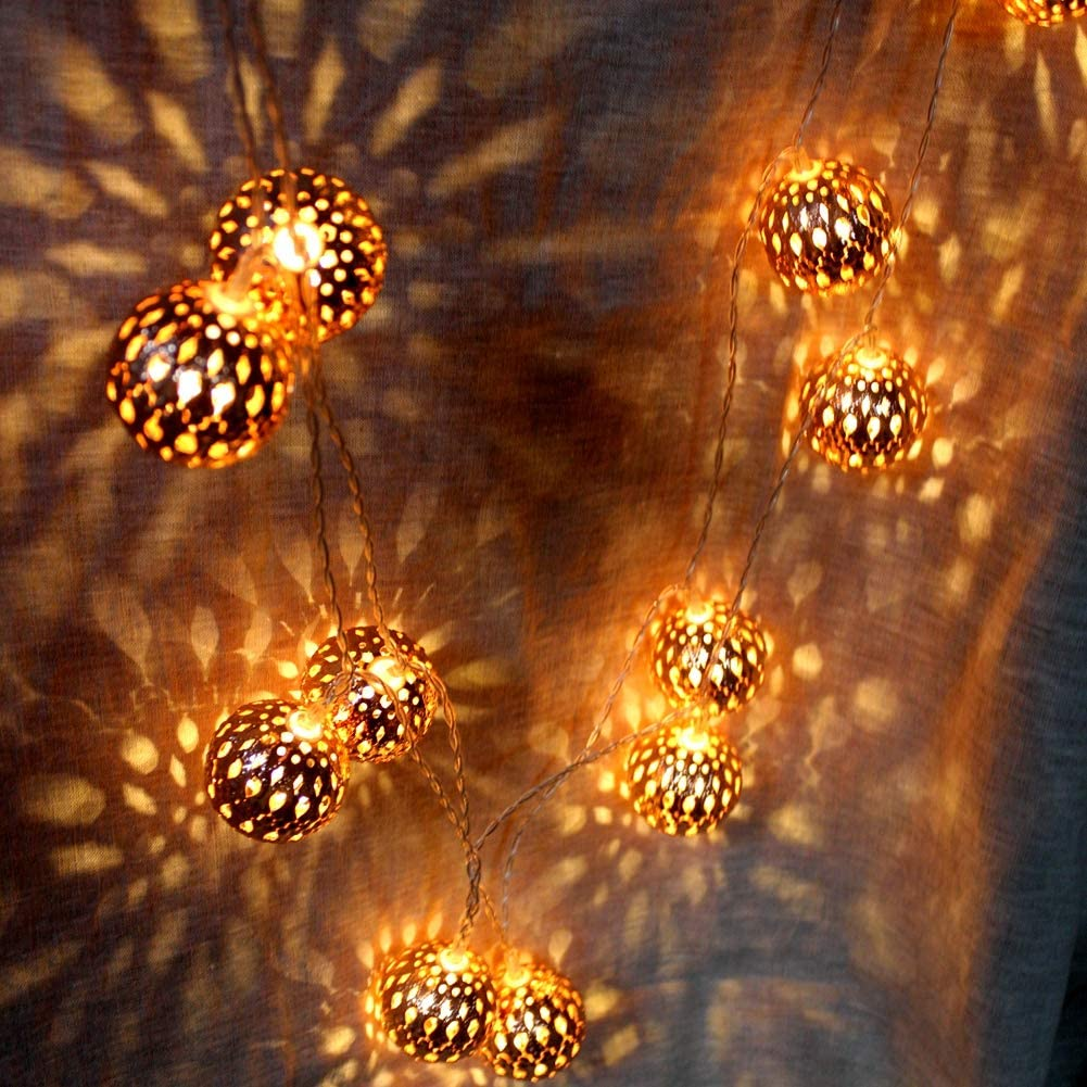 LOGUIDE Moroccan Globe String Lights,Globe String Lights,Outdoor String Lights,Battery Operated String Lights,Rose Gold (Big Metal Ball/9.84 feet/ 20 LED),Water-Resistant Ball Lantern Light