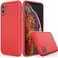 TIANLI iPhone XS Max 6.5 英寸 2018 保护壳纤薄贴合单层弹性 TPU 薄轻质防滑红色