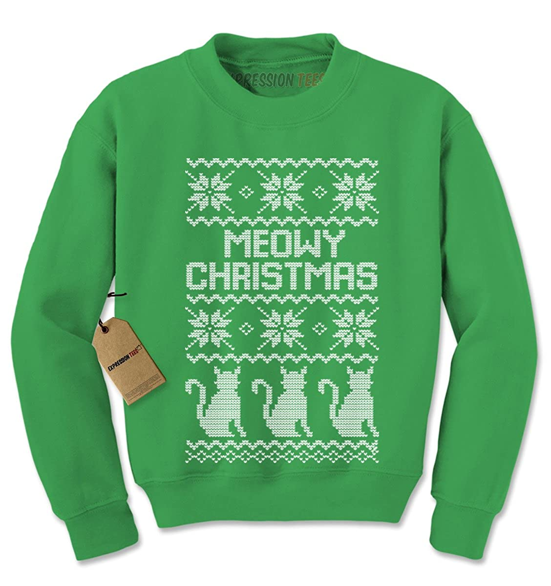 Expression Tees Meowy Christmas Ugly Christmas Sweater Crewneck Sweatshirt 8009-C