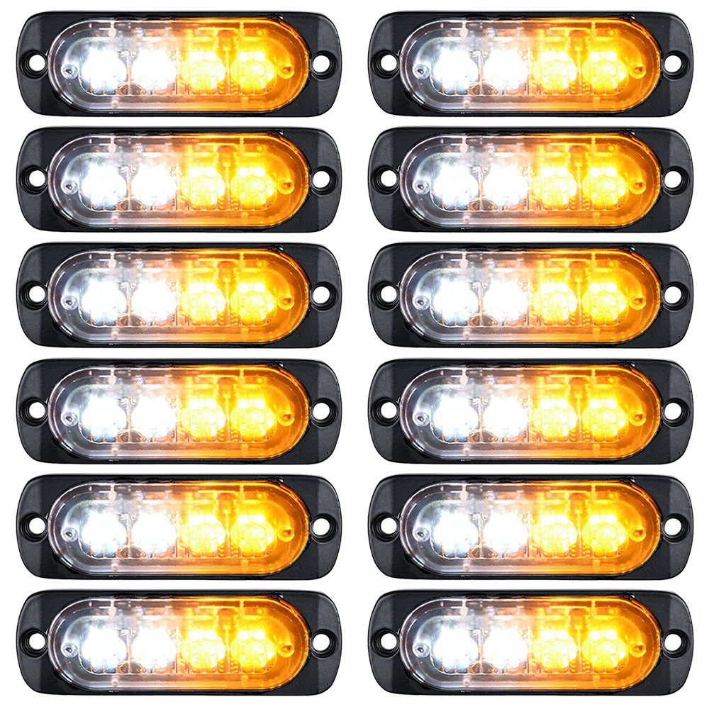 Ultra Thin Surface Mount 12W 4-LED Warning Emergency Flashing Strobe Light Bar 12V-24V (12pcs, Amber) Astra Depot LED Warning Emergency Flashing Strobe Light