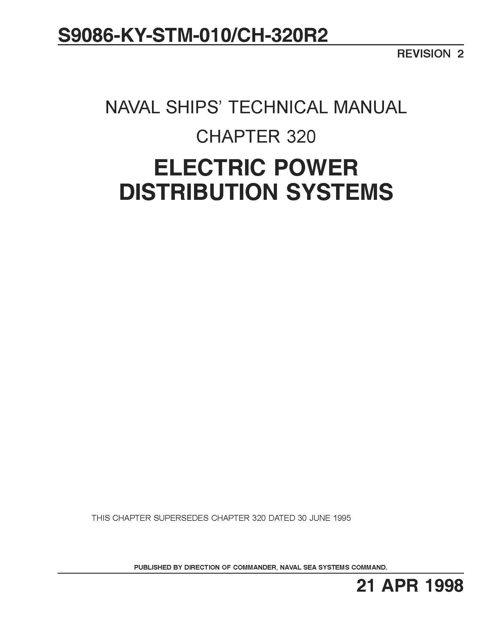 Electric Power Distribution Systems Chapter 320 NAVAL SHIPS
