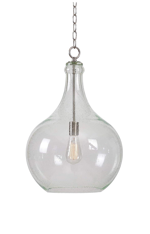 Kenroy Home 93186CLR Rhone 1 Light Pendant Brushed Steel & Seeded Glass