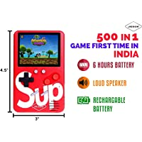 Classic Gaming Console SUP 500 in 1 Portable with Colorful LCD Screen USB Rechargeable(Red) - Jimwey Jicson J85