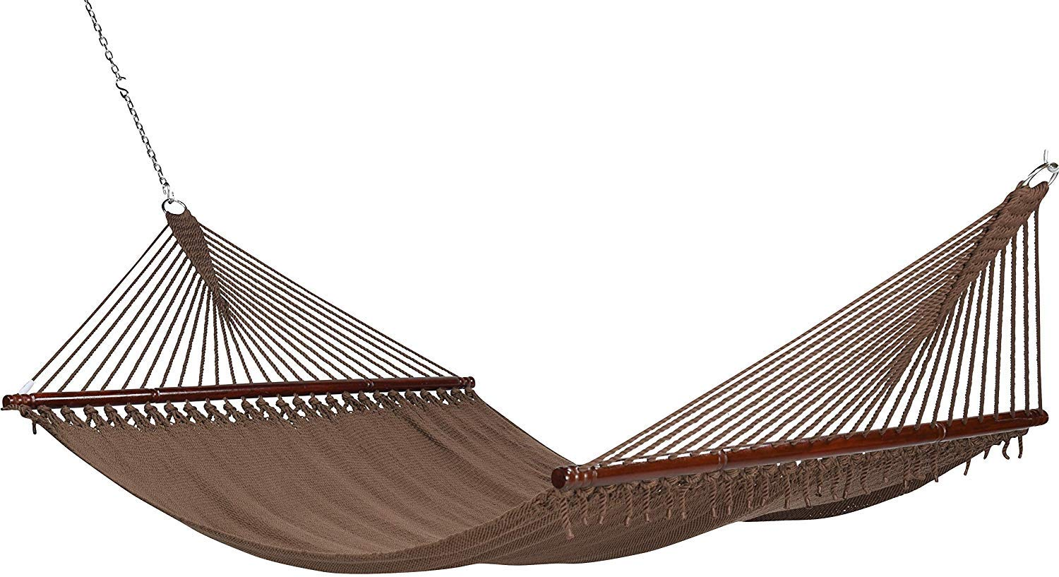 Project One 10FT Polyester Soft-Spun Rope Hammock, 51inch Large Double Wide Two Person with Spreader Bars – for Outdoor Patio, Yard, and Porch Mocha