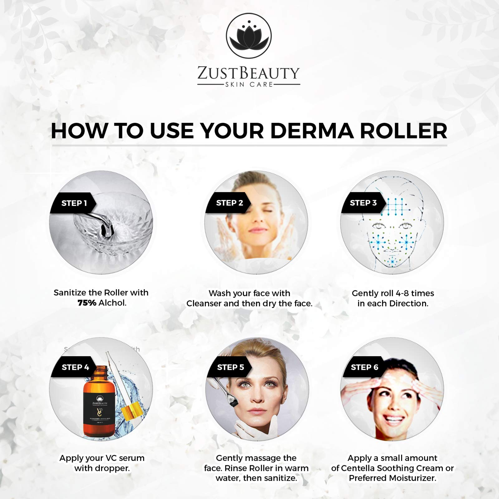 Derma Roller Kit 0.3MM and Vitamin C 25% Hyaluronic Serum with Soothing Cream Set Bundle- Best Quality 540 Titanium Microneedle Organic Vitamin C Serum- Cosmetic Micro Needles For All Face Skin Types by ZustBeauty