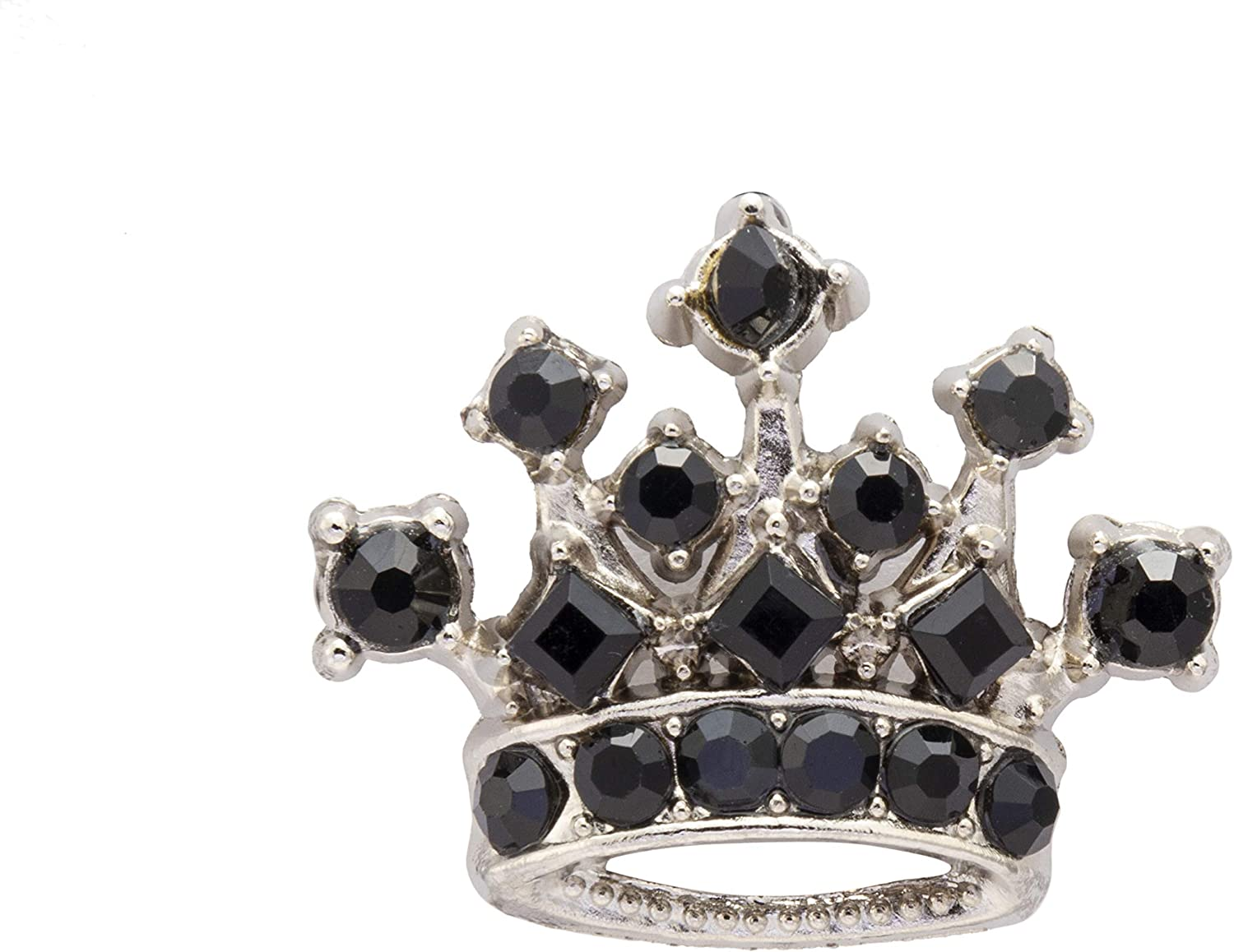 Knighthood Men's Royal Crown Crystal Lapel Pin Badge Brooch (Black & Silver)