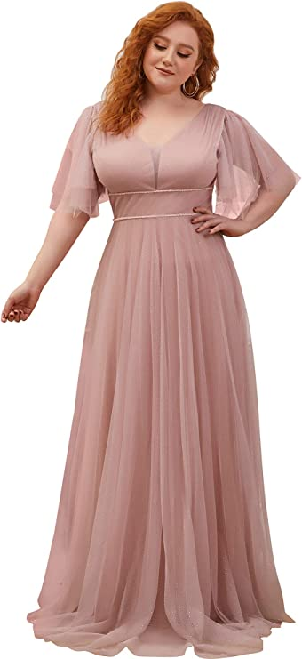 1940s Dress Styles Ever-Pretty Womens Deep V Neck Short Sleeve Floor Length A-Line Empire Waist Elegant Glitter Tulle Bridesmaid Dresses Plus Size EE00278PL £44.99 AT vintagedancer.com