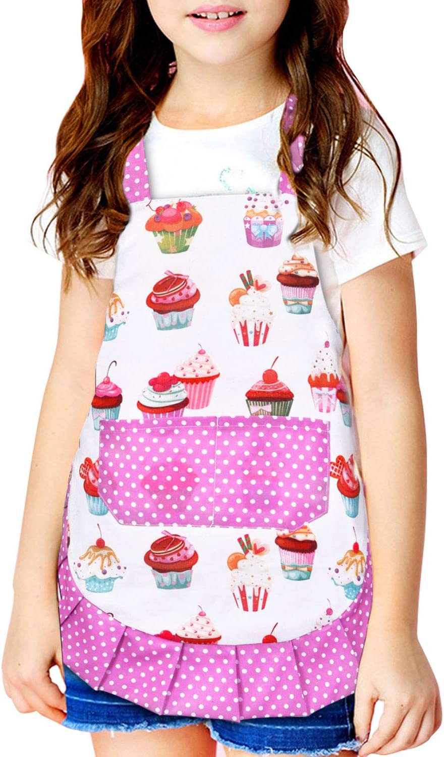 """Cute Cupcake Apron for Kids, Pink Kids Apron with Pockets, Little Girl Apron with Adjustable Neck Ties, Waterproof Children Apron for Girls, Boys, Baking Cooking, Playing, Crafting (14.6"""" x 16.7"""")"""