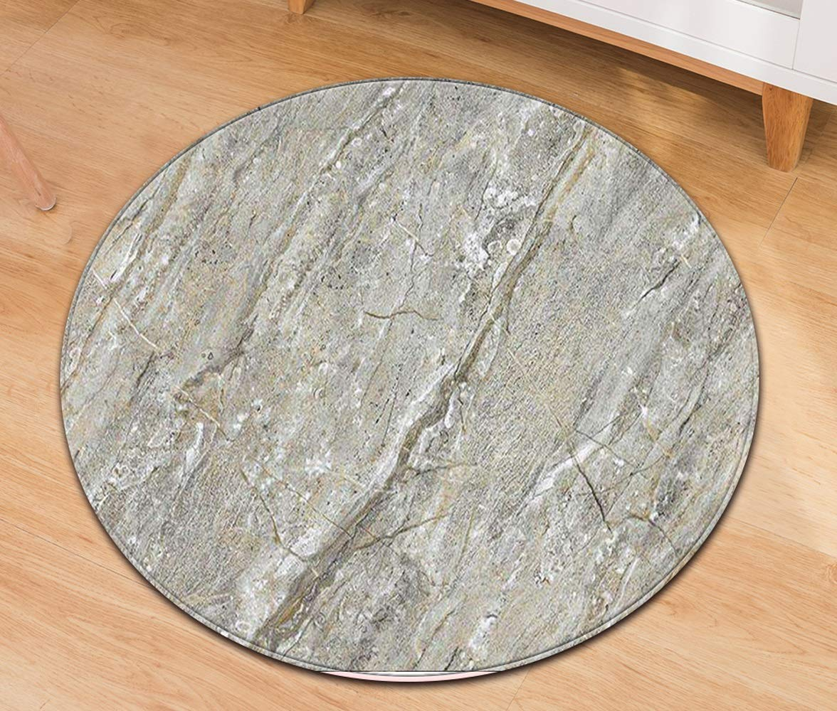 ZCXBB Marble Round Casual Lint Non-Fading Non-Slip Carpet Computer Upholstery Office Chair Mat Door Mat Carpet (Color : Gray, Size : XL)