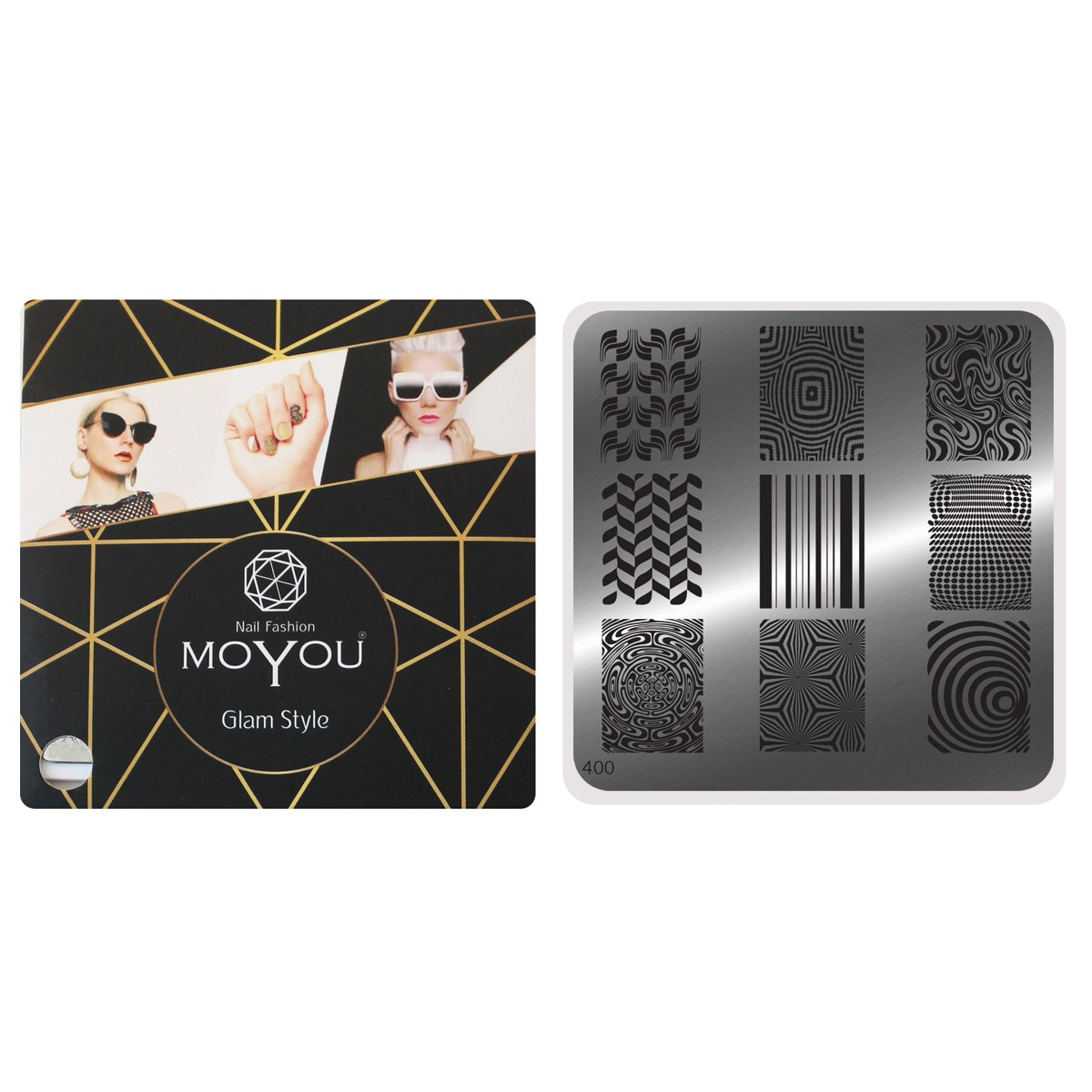 MoYou Nails Square Image Plate 400 Optical Illusion and Abstract Designs Nail Accessories Stamping Nail Art Easy to Use OMG Marketing Ltd