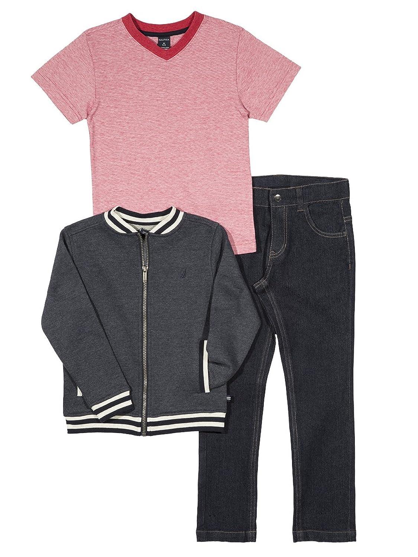 Kids 1950s Clothing & Costumes: Girls, Boys, Toddlers Nautica Boys Baseball Jacket Tee and Denim Pant Set $39.60 AT vintagedancer.com