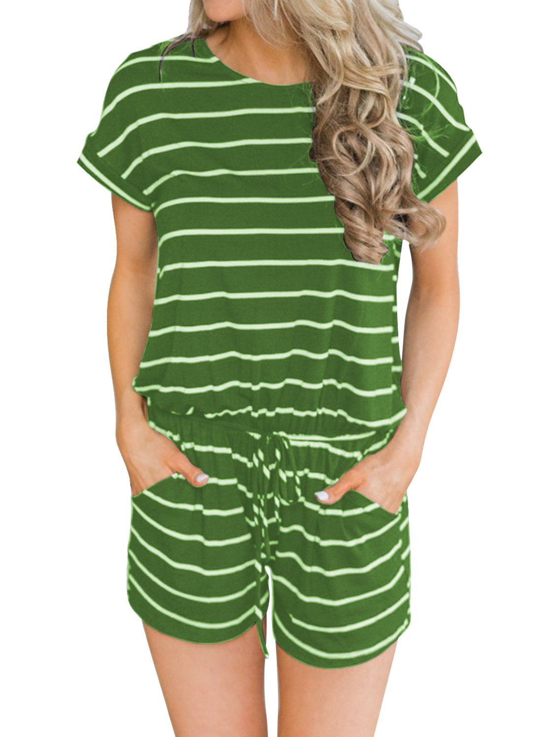 MIHOLL Women's Summer Striped Jumpsuit Casual Loose Short Sleeve Jumpsuit Rompers (Green, Large)