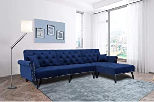 Suwikeke Modern Velvet Fabric Convertible Sectional Sofa Bed Rivet L-Shape Extra Wide Chaise Lounge Contracted Living Furniture Room Set with Corner Couch, Navy Blue
