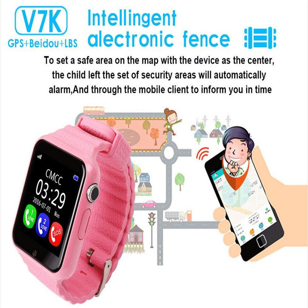 Amazon.com: YIMOHWANG V7K Smart Watch for Kids Children GPS Tracker Smartwatch V7K With Camera Facebook Kids SOS Emergency Security Anti Lost For IOS ...