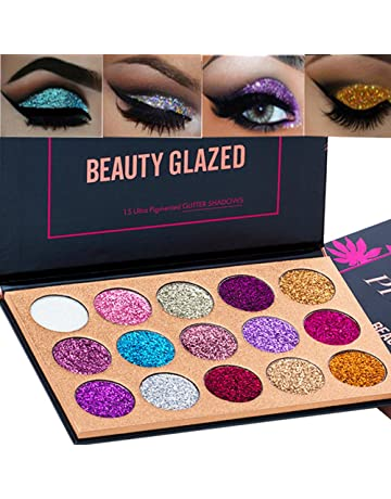 de1f94fc56e Beauty Glazed 15 Colors Glitter Eyeshadow Palette Shimmer Ultra Pigmented Makeup  Eye Shadow Powder Long Lasting
