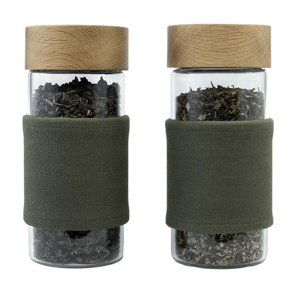OAKEN | 2 Airtight Storage Containers for Storing Coffee, Loose Leaf Tea, Spices & Dry Goods