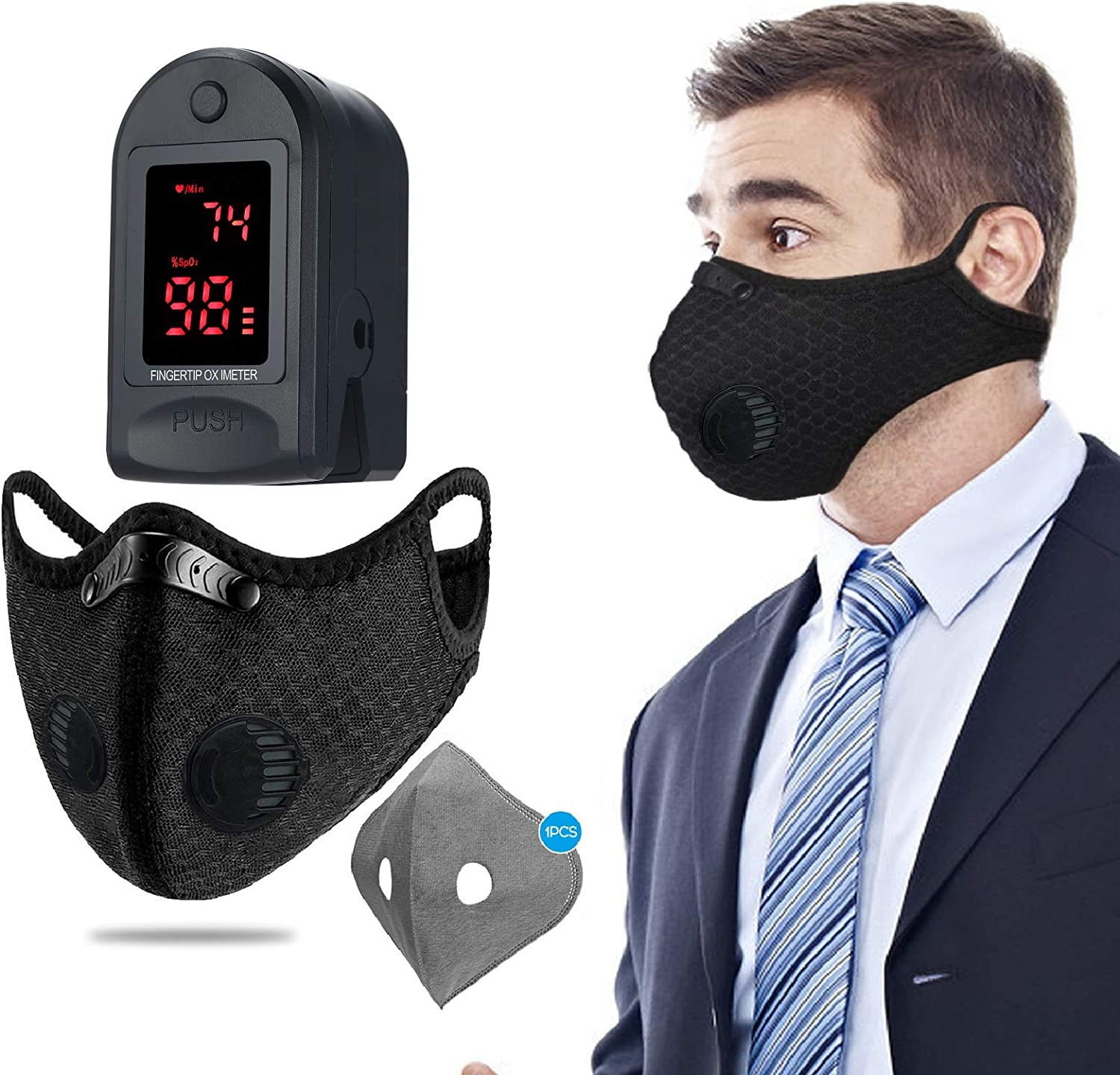 Anself Reusable Sport Cover for Men & Women with Cotton Air Filter + Mini Fingertip Tester OLED Display for Home Use WAS £26.30 NOW £7.99 w/code 84SUSHRB @ Amazon