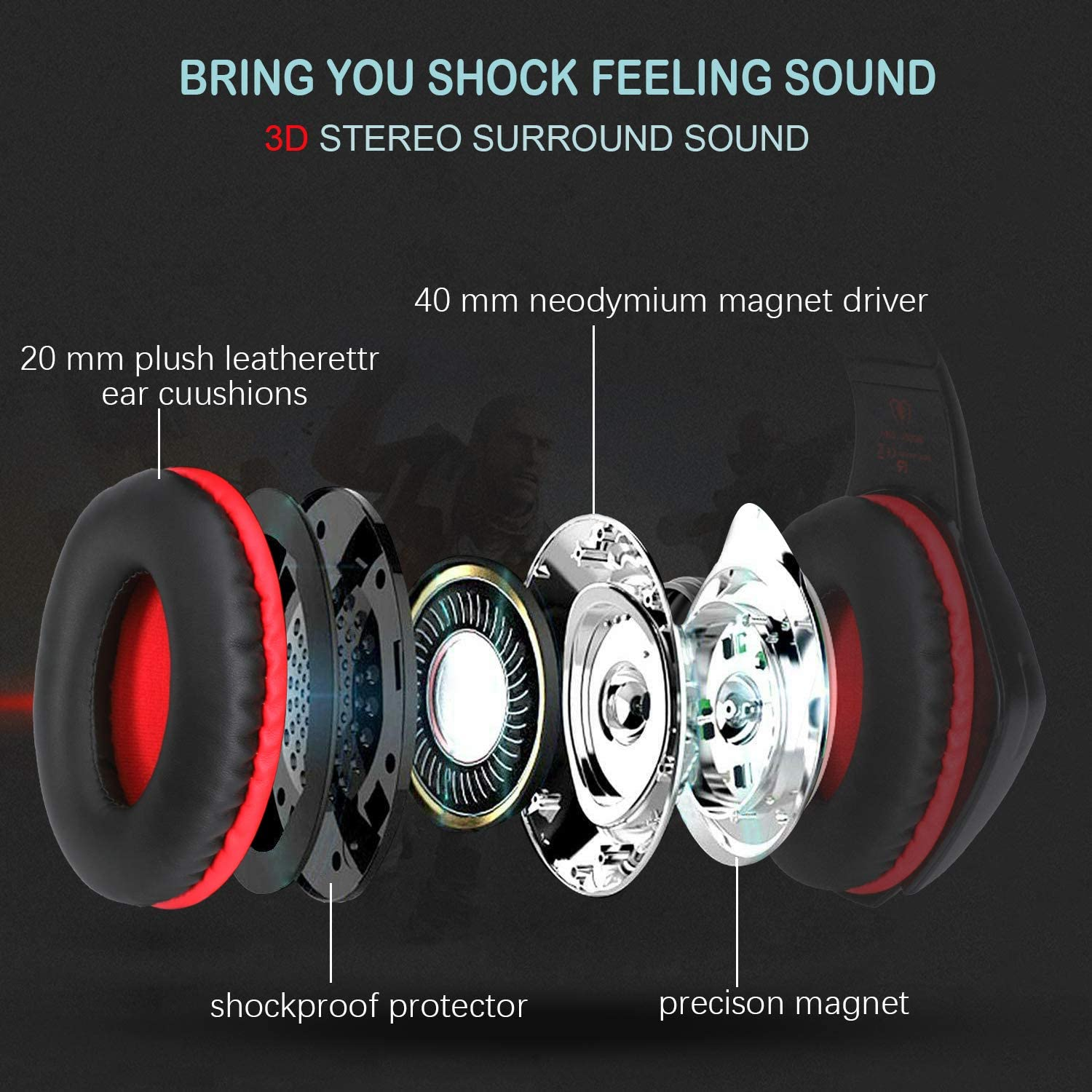 Wired Bass Stereo PC Headphone with Crystal 3D Gaming Sound for PS4 Switch Gamers Xbox One Black and Red MUCH Over-Ear Gaming Headphset with Noise Canceling Mic