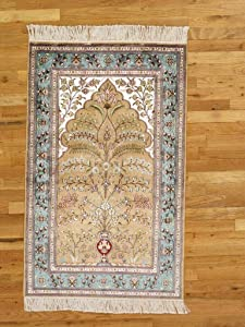 Floral Wase Wall Hanging Silk Authentic Handmade 3x4 Traditional Brown Rug