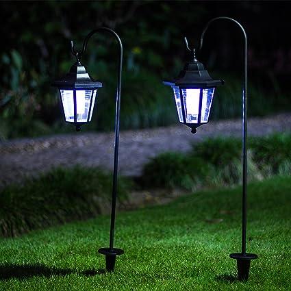 GIGALUMI 26 Inch Solar Lights Outdoor, Hanging Solar Coach Lantern With 2  Shepherd Hooks (
