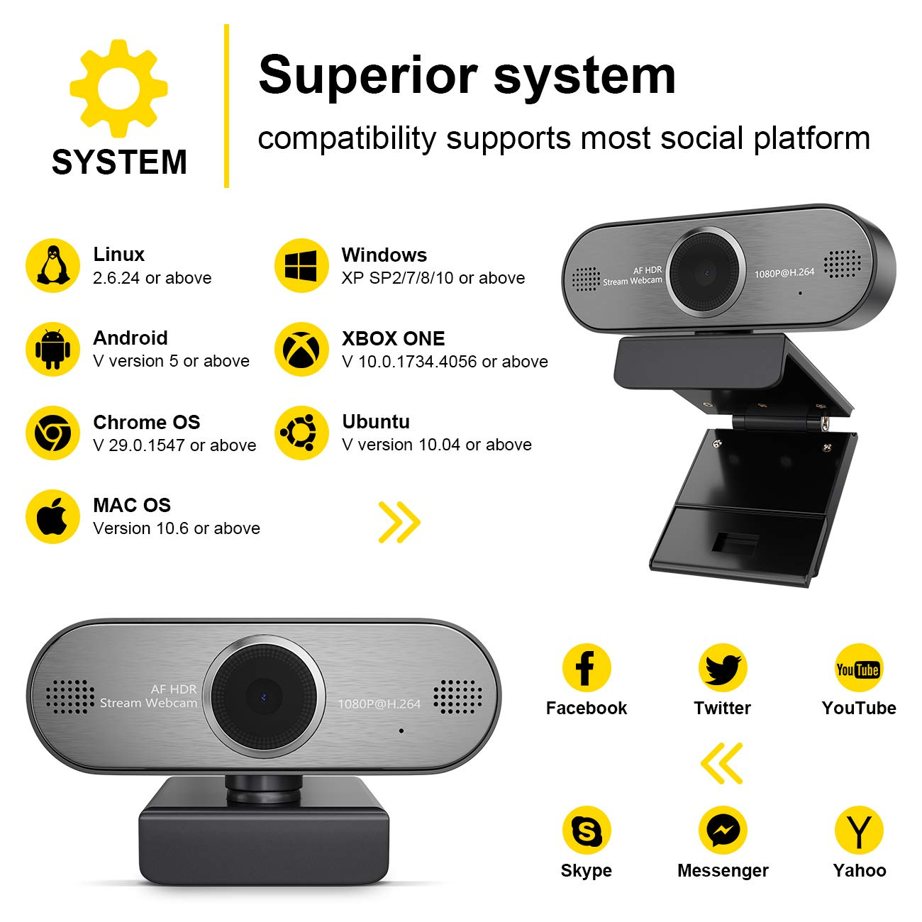 HD Pro Stream Webcam 1080P Auto Focus Web Camera with Mic USB Widescreen  for Streaming and Recording, Suitable for Skype, YouTube, Twitch for PC,