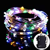LIDORE Micro LED Multi Color String Light with 3 Modes 60 LED Waterproof Battery Box 6AA Battery Operated on Long Silver Color Ultra Thin Wire.Suitable for Indoor Outdoor Valentine's Day