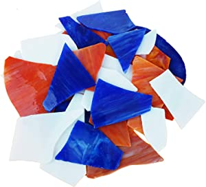 Lanyani Stained Glass Pieces Glass Mosaic Chips Scraps Cathedral Glass for Mosaic Crafts & DIY, 35oz Pack, Flag