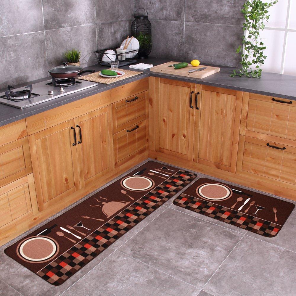 "Carvapet 2 Piece Non-Slip Kitchen Mat Rubber Backing Doormat Runner Rug Set, Tableware (19""x59""+19""x31"")"