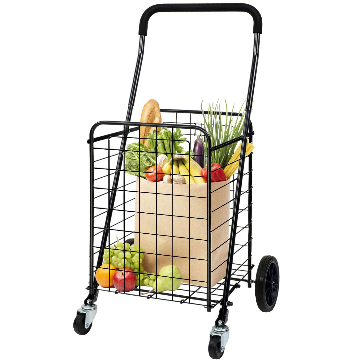 Pipishell Shopping Cart with Dual Swivel Wheels for Groceries - Compact Portable Folding Cart Saves Space - with Adjustable Handle Height - Easy to Move Lightweight Trolley Holds up to 70L/Max 66Ibs by Pipishell