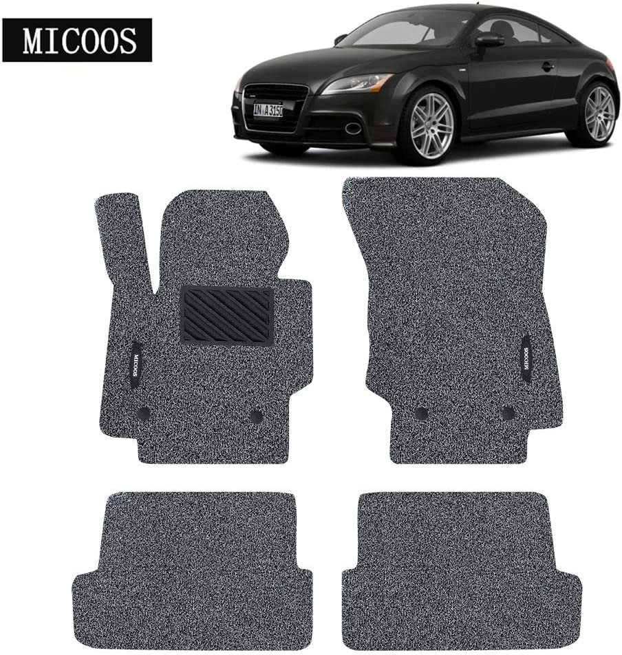 MICOOS Compatible with Car Floor Mat Carpet Audi TT 2008-2015 All Weather Heavy Duty Floor Mat Set Waterproof Stain-Resistant Gray and Black