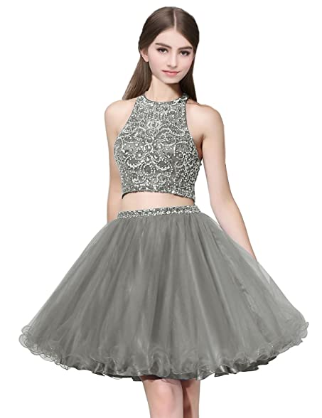 Clearbridal Tulle Grey Homecoming Dresses 2 Piece 2017 Short For Juniors A Line Sheer Neck Prom