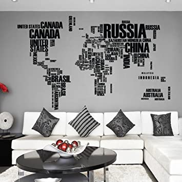 Amazon world map wall decal in words vinyl map wall decal vinyl world map wall decal in words vinyl map wall decal vinyl sticker world map atlas wall gumiabroncs Image collections