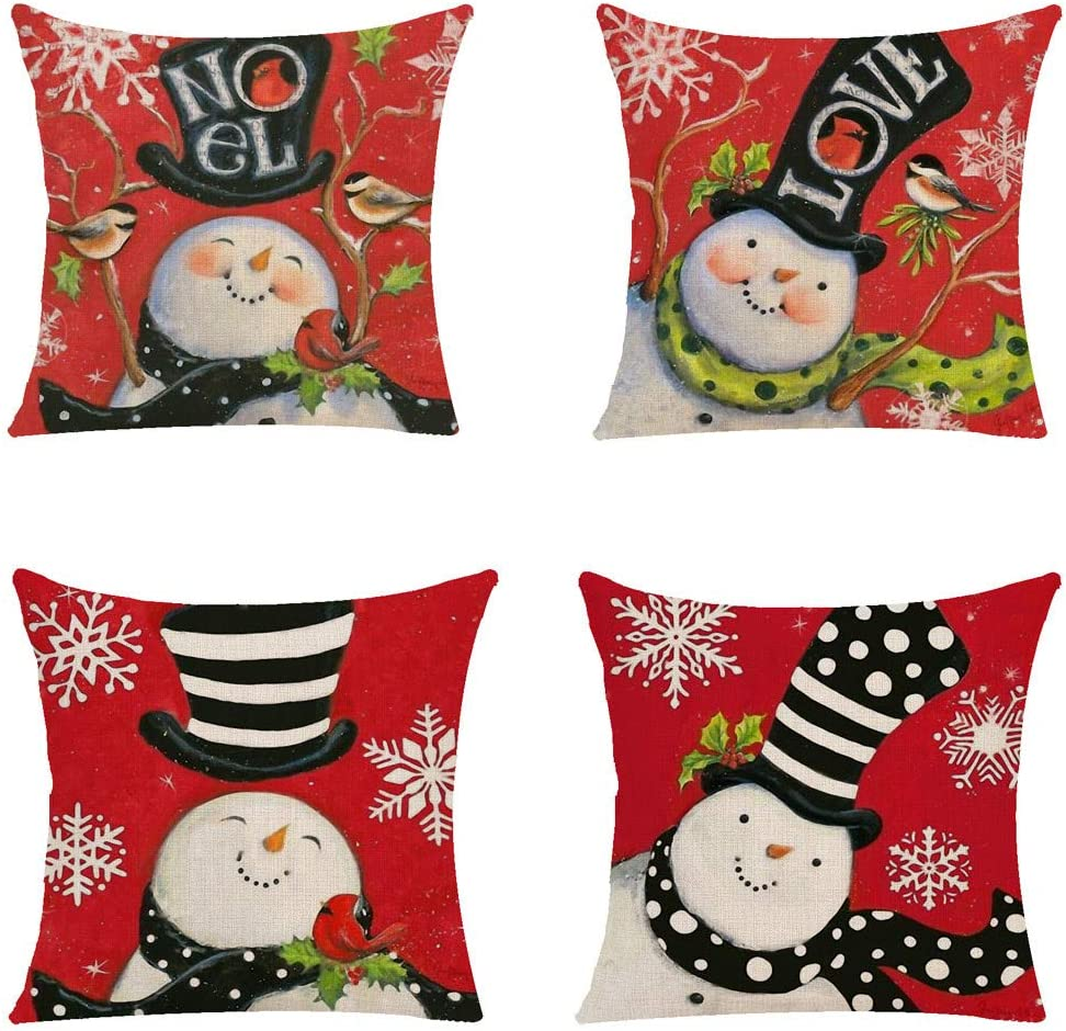 Red and White Snowmen Christmas pillow covers