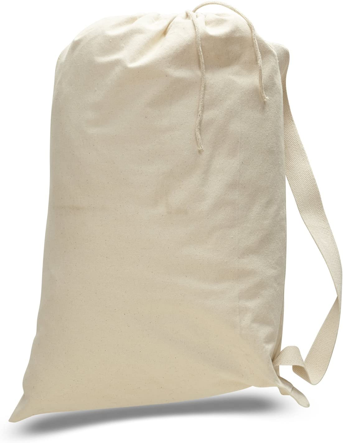 - Heavy Weight 100/% Thick 12oz 1 Dozen Drawstring bags in BULK Medium, Natural Luggage Totes Pack of 12 - Canvas Laundry Travel Garment Bags With Shoulder Strap