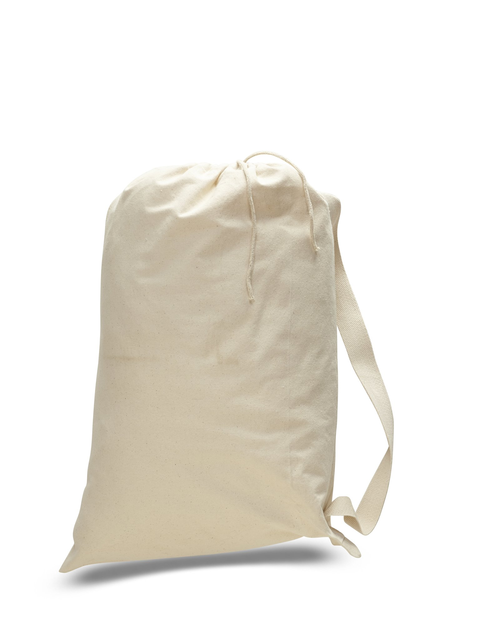Pack of 12 - (1 Dozen) - Heavy Weight 100% Thick 12oz. Canvas Laundry Travel Garment Bags - Luggage Totes - Drawstring bags in BULK - With Shoulder Strap (Large, Natural)