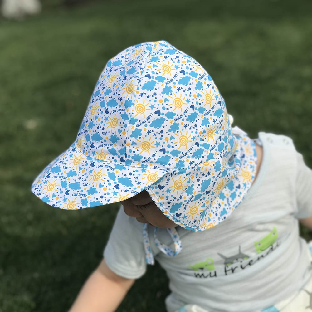 Baby Toddler Kids Sun Hat UPF 50 UV Sun Protection Hats Adjustable Infant Swim Cap with Neck Flap for Outdoor Summer Play Beach Pool Sunlight 6-18 Months by Muryobao (Image #4)