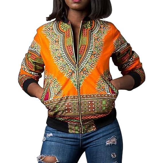 Chaqueta Casual Corta☀ EUZeo☀ Estampada Africana de la Moda de Manga Larga