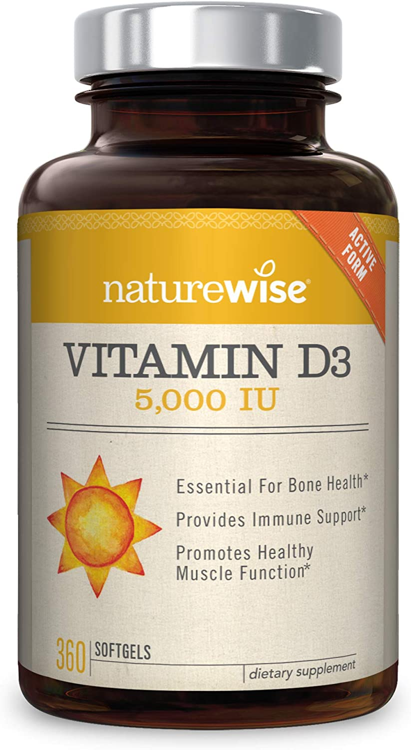 NatureWise Vitamin D3 5,000 IU (1 Year Supply) for Healthy Muscle Function, Bone Health, and Immune Support Non-GMO in Cold-Pressed Organic Olive Oil ...