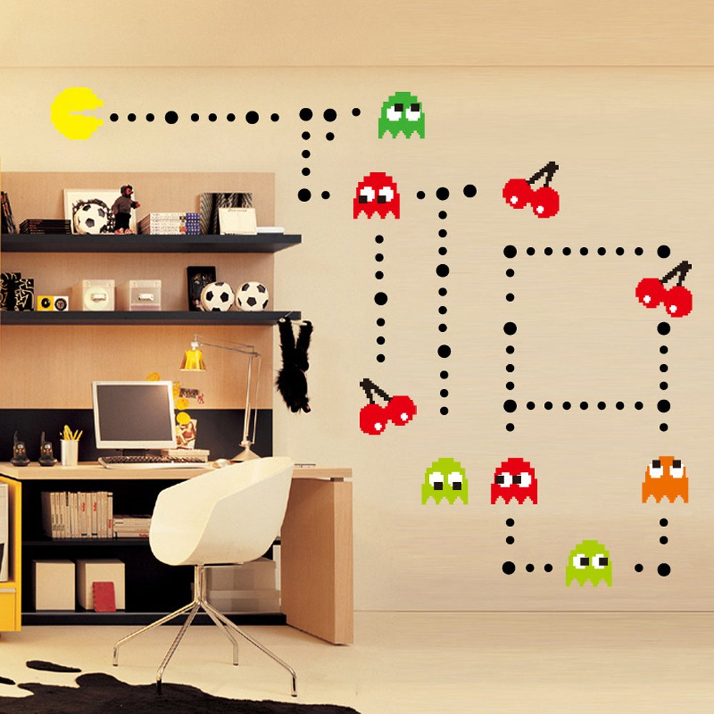 Amazon homeevolution giant super mario build a scene peel and ufengke cartoon pac man games wall decals childrens room nursery removable wall stickers amipublicfo Gallery