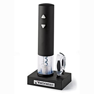 Wine Enthusiast Electric Blue Push-Button Corkscrew, Black