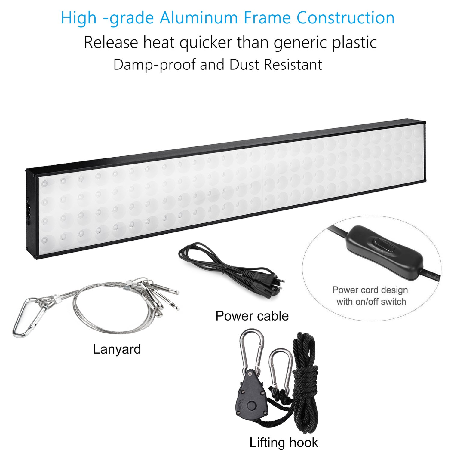 ZXMEAN LED Grow Light Panel Red Blue Spectrum 60W Growing Lamp with Fast Cooling Aluminum for Indoor Planting Hydroponic Greenhouse Seedling Veg and Flowering(60W)