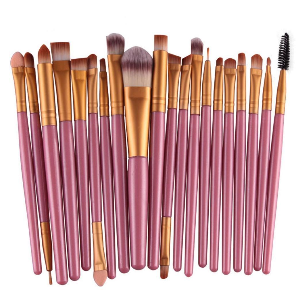 20pcs/set Kingfansion Makeup Brush Set tools Make-up Toiletry Kit Wool Make Up Brush Set (Gold)