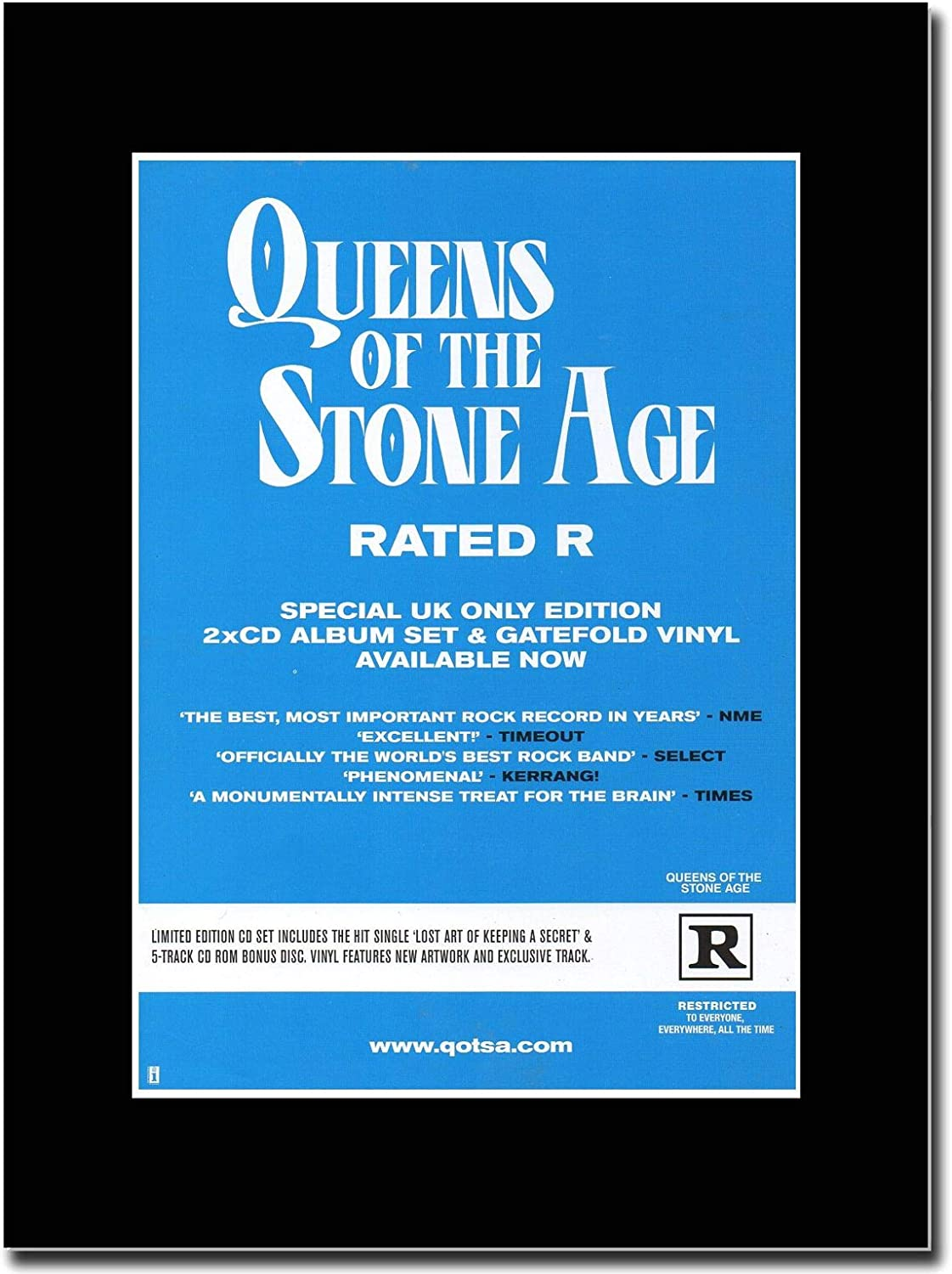 Gasolinerainbows - Queens of The Stone Age - Rated R - Revista montada Obra de Arte Promocional en una Montura Negra - Matted Mounted Magazine Promotional Artwork on a Black Mount