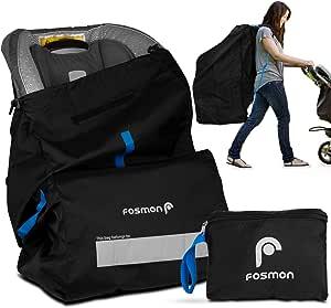 Fosmon Infant Car Seat Travel Bag for Airplane, Nylon Backpack Style Padded Adjustable Shoulder Strap, Drawstring Airline Gate Check Bag for Infant Car Seats, Baby Carrier, Booster - Universal Size