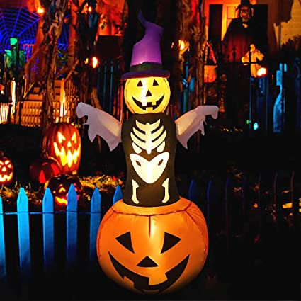 Maoyue Halloween Inflatable Pumpkin Ghost 5 Ft Blow Up Halloween Decorations Led Inflatable For Indoor Outdoor Yard Garden Include Stakes And